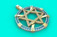 3D star david necklace 186 model