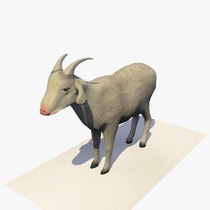 3D goat eating rigged animal model