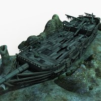 3D wreckage ship shipwreck