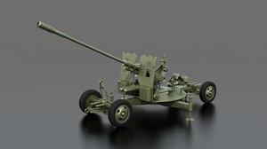 3D azp s-60 towed artillery