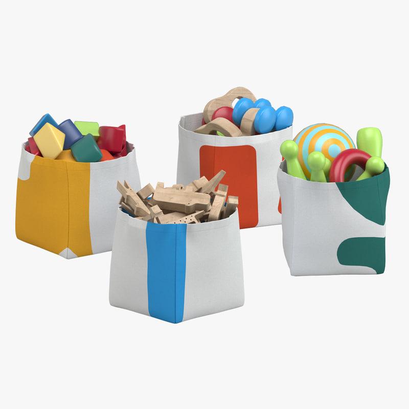 toy storage bins 3D model