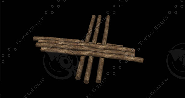 3D pile wood wooden