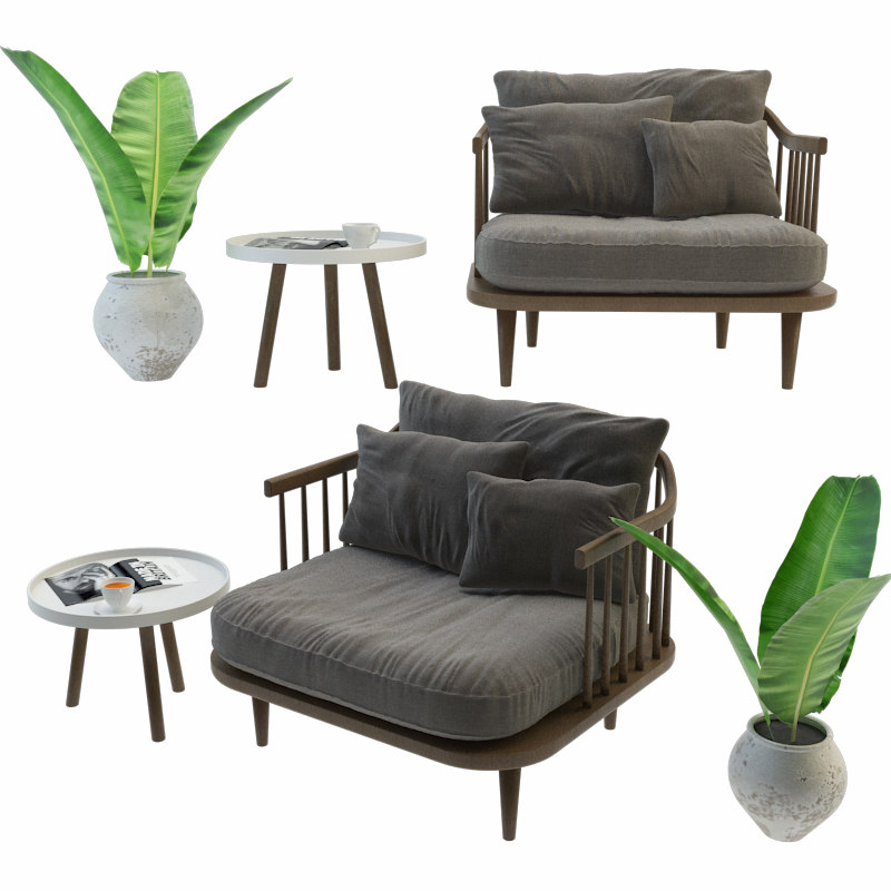 3D model fly chair set
