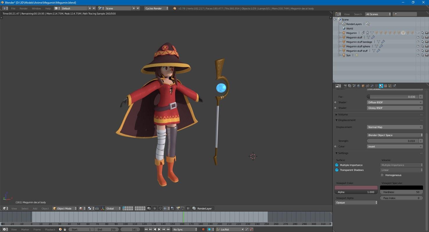 megumin anime konosuba 3D model