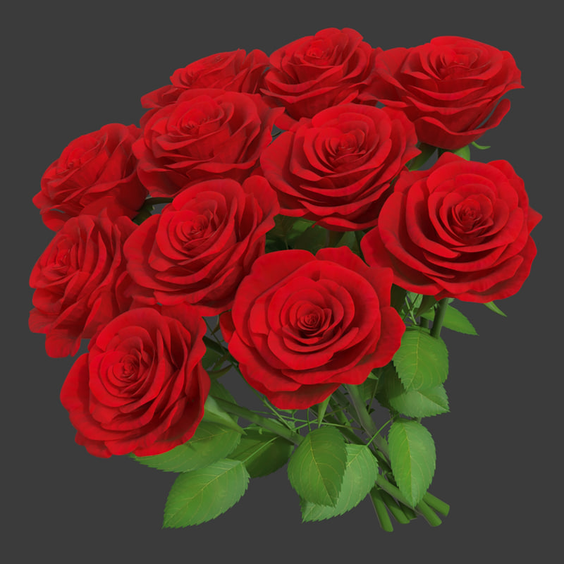 rose bouquet 11 3D model
