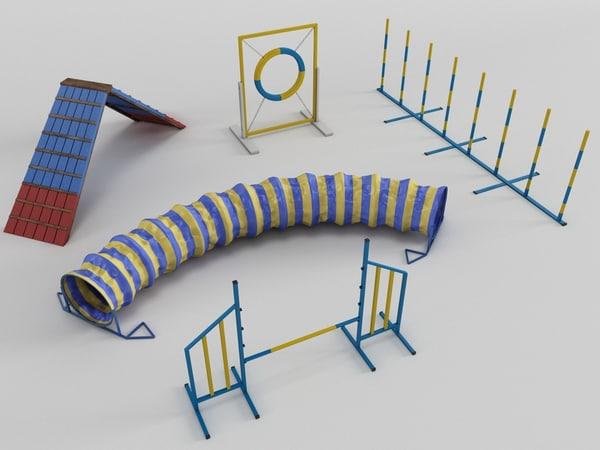 3D dog agility colection model