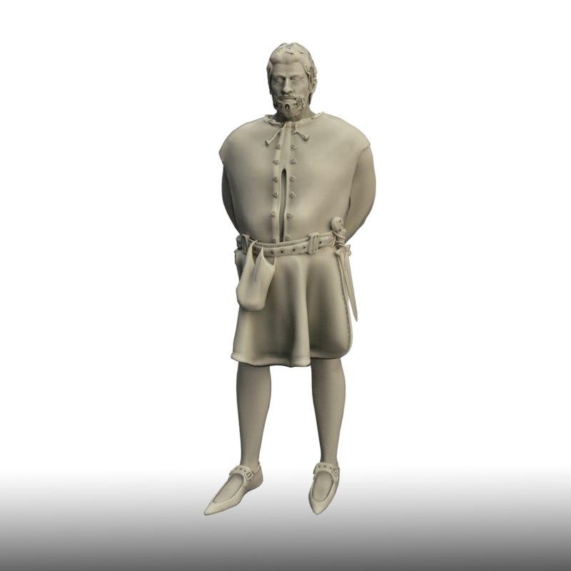3D medieval man