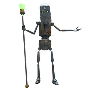 3D sci-fi spiritual leader priest model