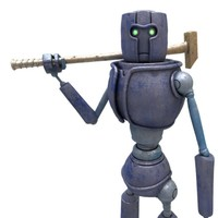 sci-fi factory worker robot model