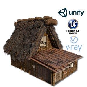shirakawago village set house 3D model