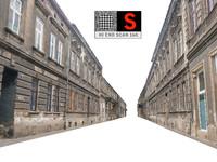 3D model facade street abandoned