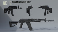 ak-12 new kalashnikov assault rifle 3D model