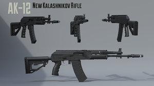 ak-12 new kalashnikov assault rifle 3D model