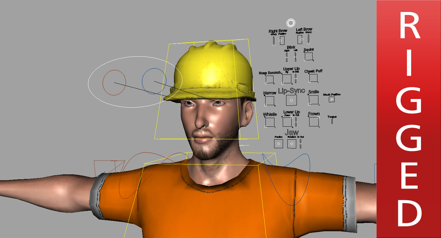 construction worker rigged 3D model