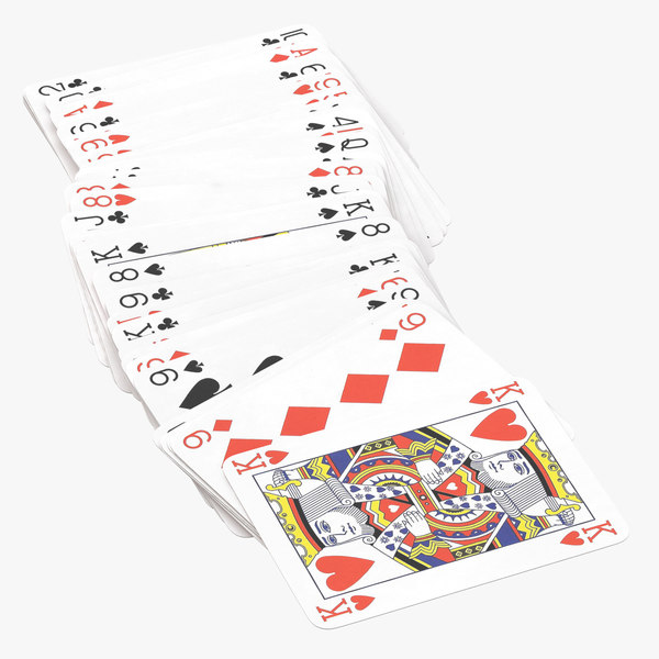 playing cards blue deck 3D model