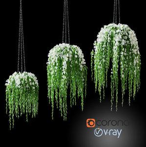 3D flowers pot chain