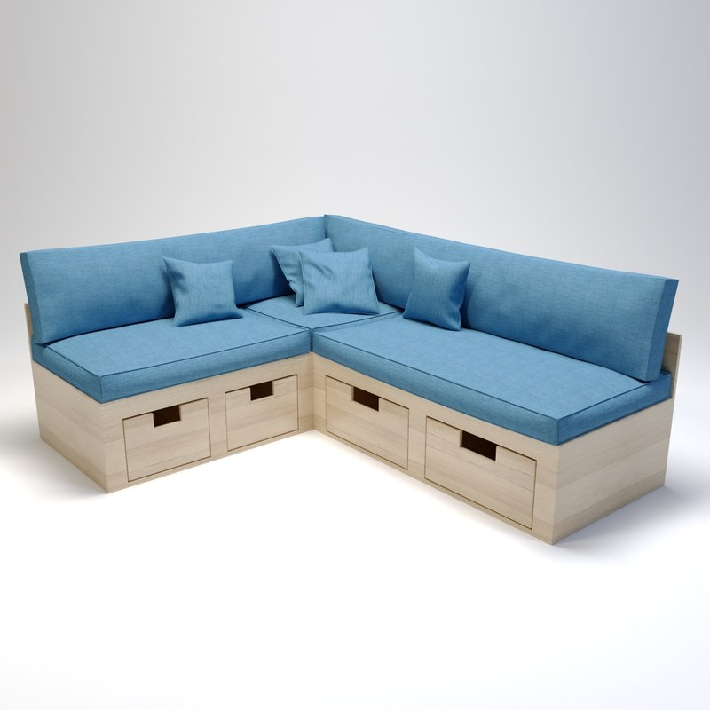 sofa corner kitchen 3D model