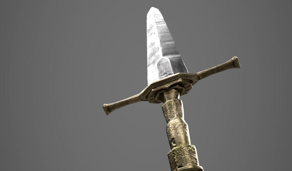 3D two-hand sword bronze model