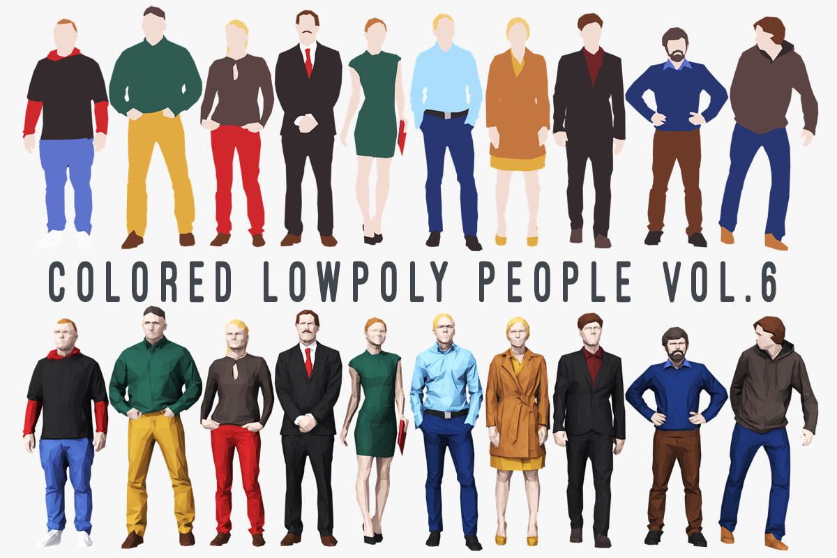 3D colored people 6 model