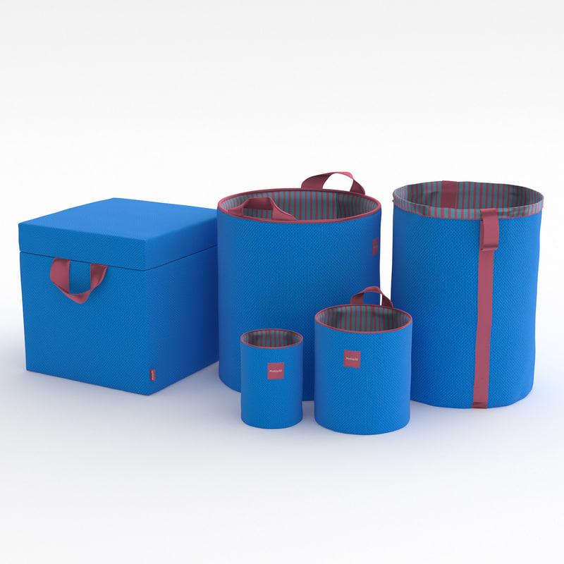 3D toy box baskets set model