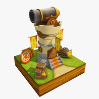 3D fantasy cannon tower