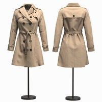 3D realistic woman coat model