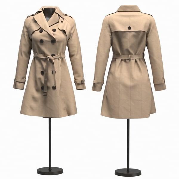 3D realistic woman coat model