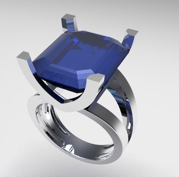 ring aquamarine 3D model