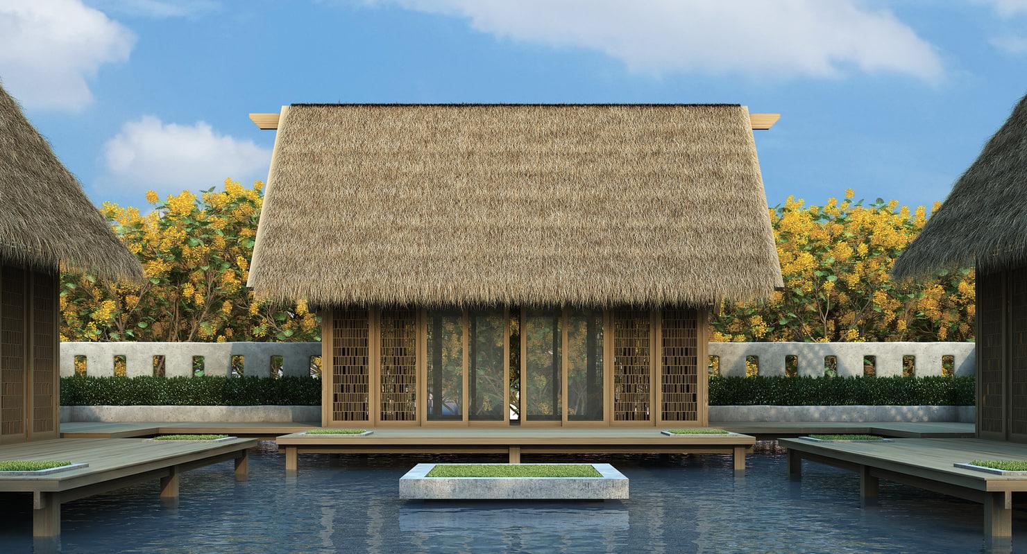 straw roof elements model