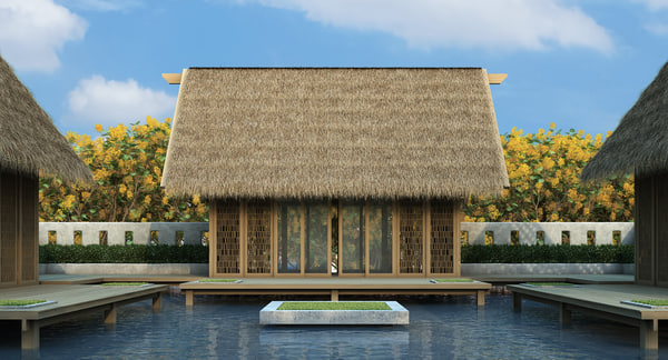 straw roof elements model