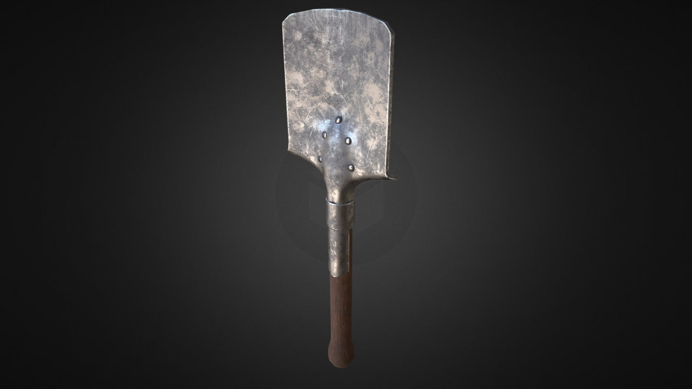 ww1 german trench shovel 3D