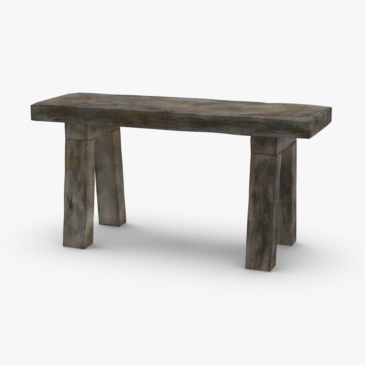 3D rustic-bench model