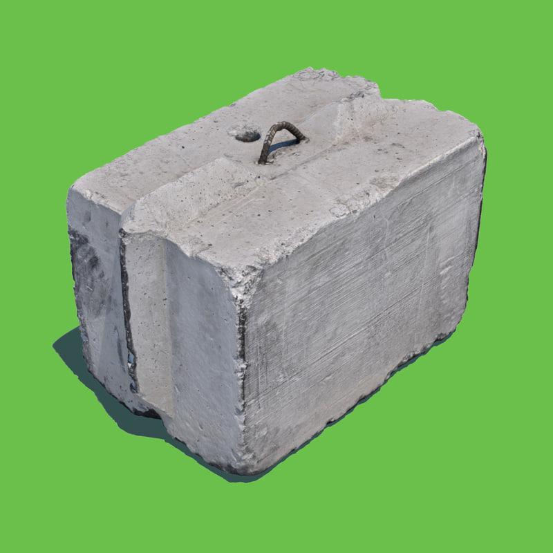 concrete barrier block model