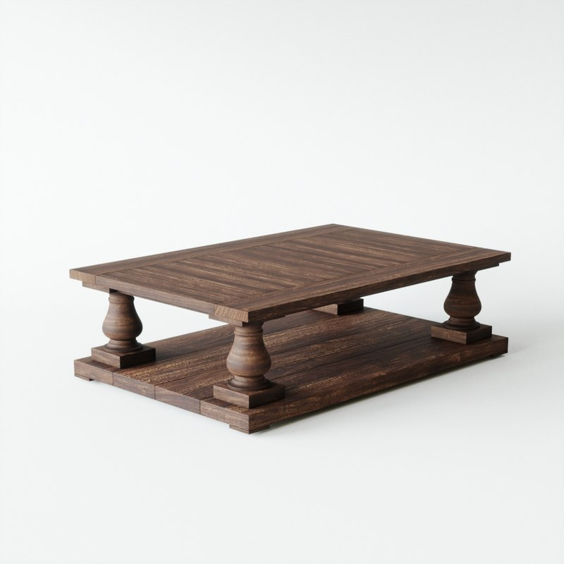 3D model balustrade salvaged wood coffee table