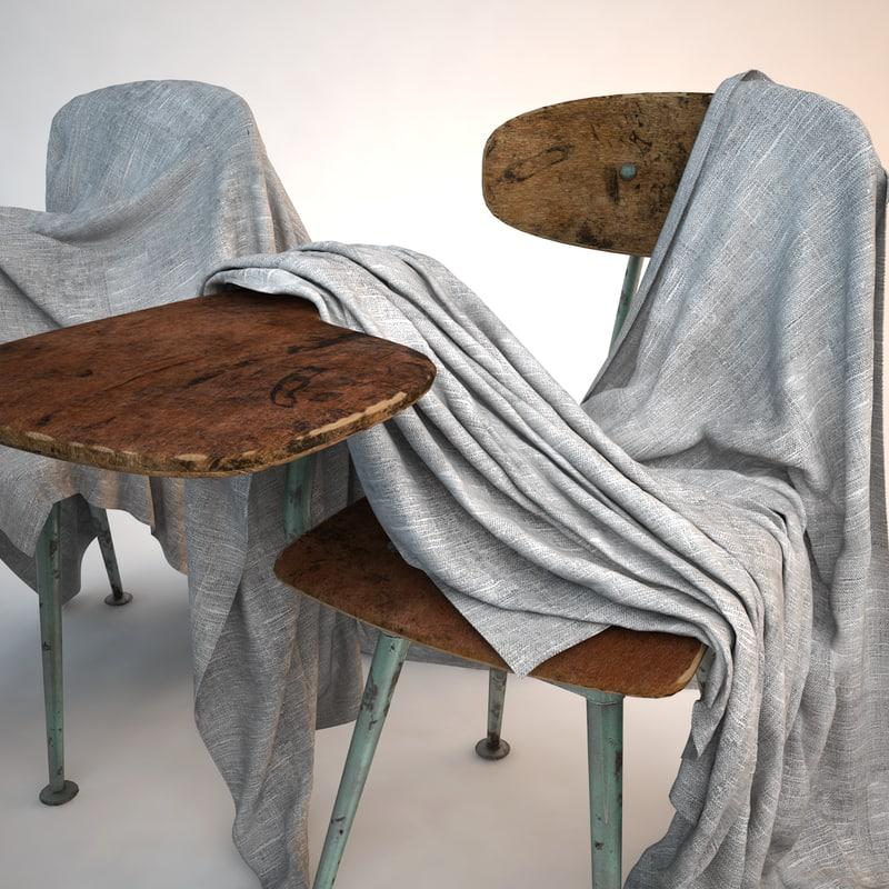 school chair covered sheet 3D model