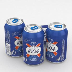 3D beer 1664 kronenbourg model