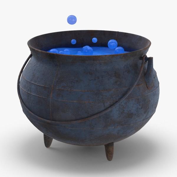 witch-cauldron---blue 3D model