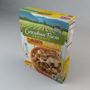 box cascadian farms cinnamon 3D