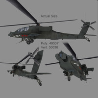 3D ah64 apache attack helicopter model