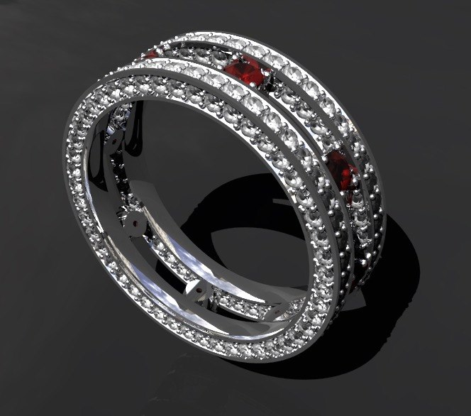 double ring diamond 3D model