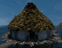 3D prehistoric house building roofs