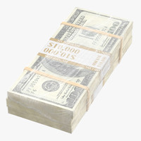 wrapped bills money 100 3D