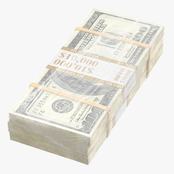 wrapped bills money 100 3D