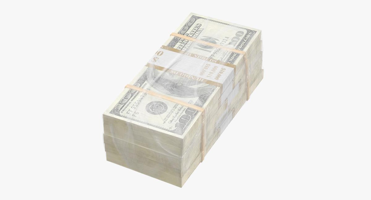 wrapped bills money 100 3D model
