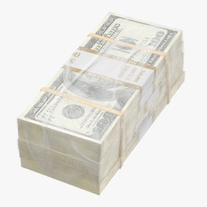 wrapped bills money 100 3D model