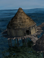 3D prehistoric roofed house wild boar