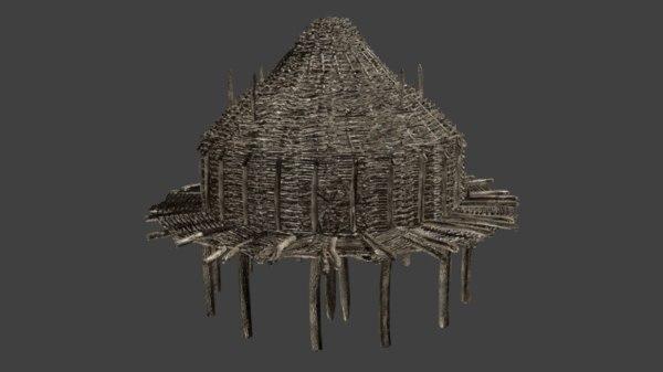 3D prehistoric wooden house