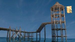3D prehistoric watch tower model