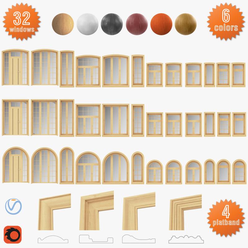 3D set windows solid wood