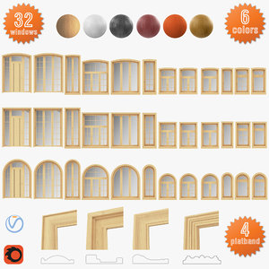 3D set windows solid wood